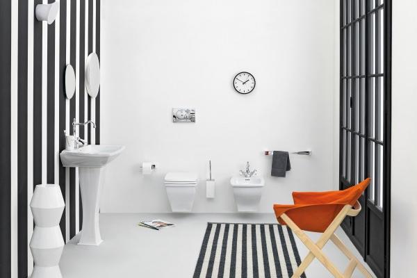 15 Idées et Inspirations de salle de bain noire et blanche rétro