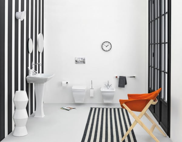 deco rayures noir blanche salle bain. Black Bedroom Furniture Sets. Home Design Ideas