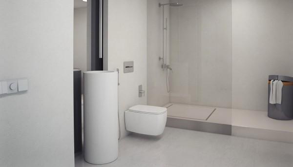 D coration d 39 un appartement minimaliste blanc for Salle de bain minimaliste