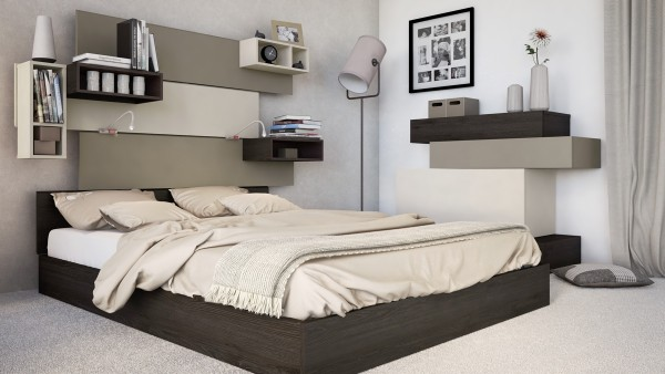 idee deco chambre avec etageres. Black Bedroom Furniture Sets. Home Design Ideas