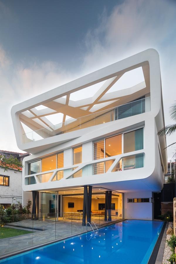 maison contemporaine futuriste blanche de mpr design. Black Bedroom Furniture Sets. Home Design Ideas