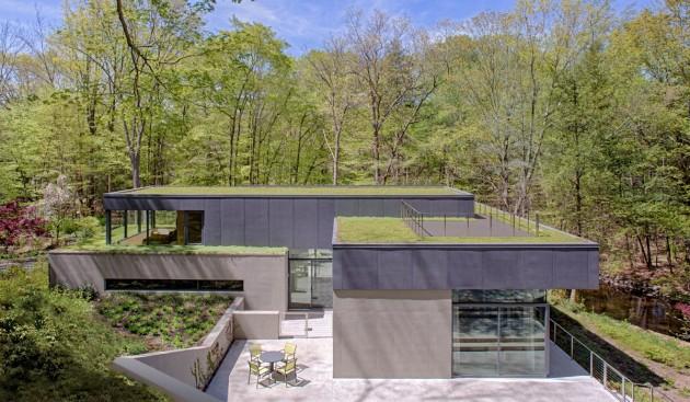 Maison contemporaine avec toit terrasse v g talis for Maison avec toit vegetal