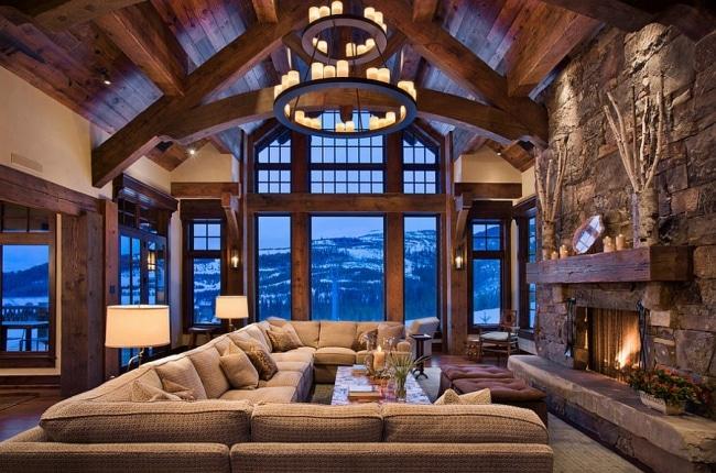 idee deco salon rustique moderne 04. Black Bedroom Furniture Sets. Home Design Ideas