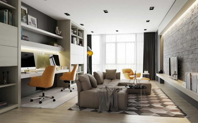 idee decoration salon avec bureau. Black Bedroom Furniture Sets. Home Design Ideas