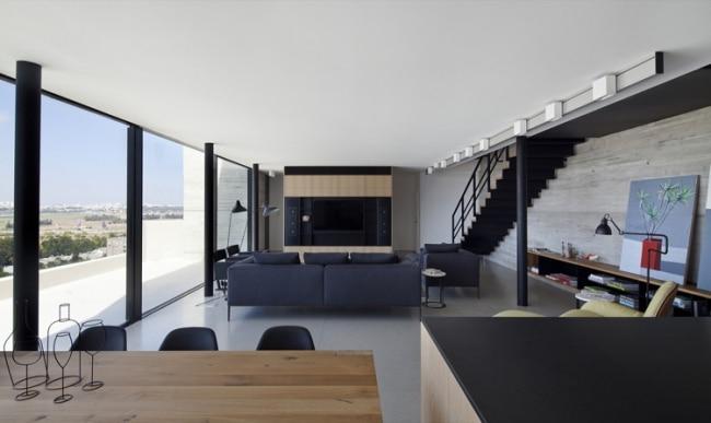 d coration int rieure en b ton brut acier et bois. Black Bedroom Furniture Sets. Home Design Ideas