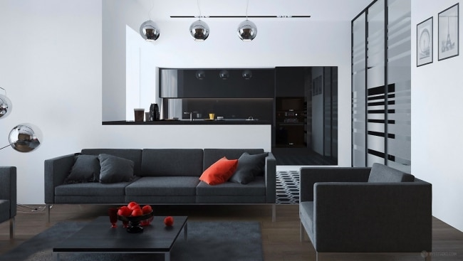 Idee decoration salon simple elegant for Interieur noir et blanc