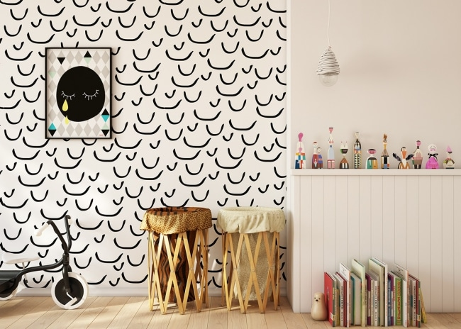 papier peint noir blanc enfant. Black Bedroom Furniture Sets. Home Design Ideas