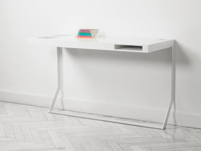 Bureau blanc minimaliste milk mini soren rose for Bureau simple blanc