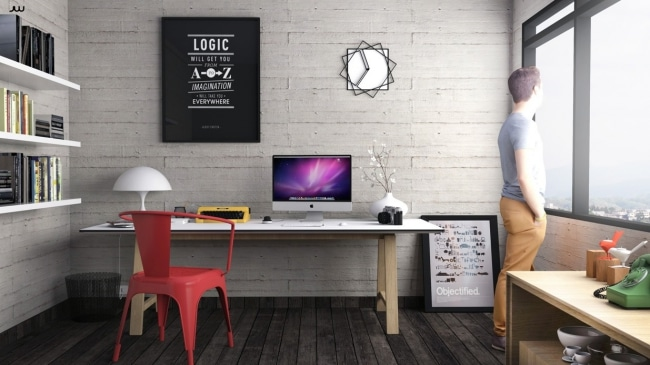 Bureau domicile deco industrielle for Article de decoration pour la maison