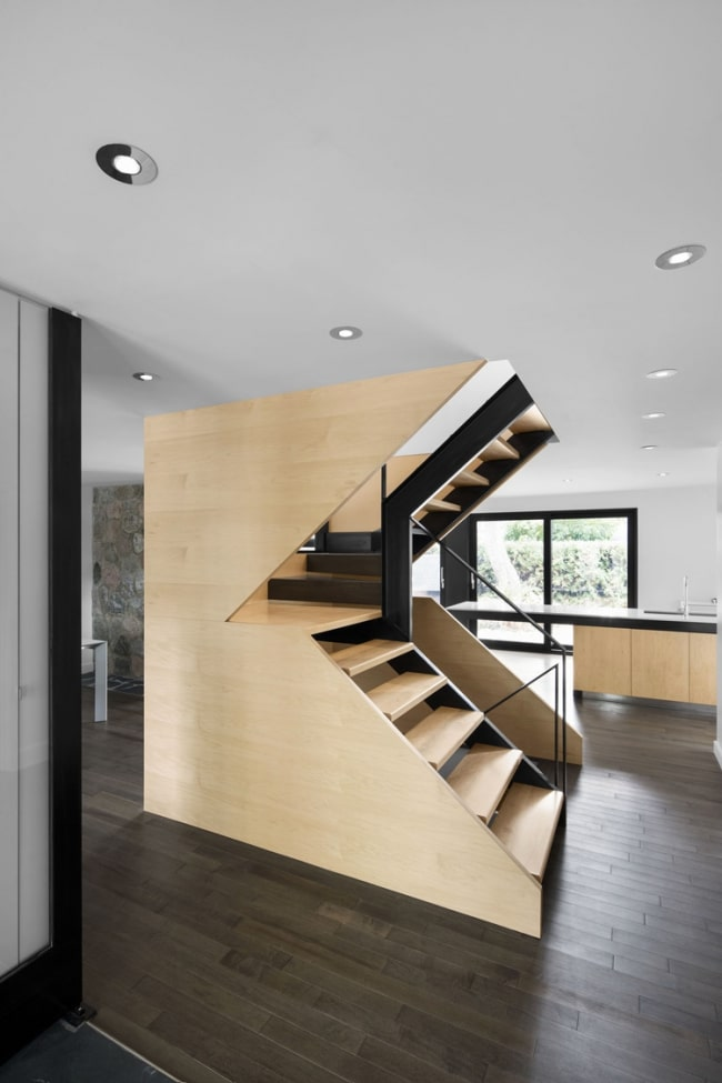 escalier bois acier 3 4 tournant. Black Bedroom Furniture Sets. Home Design Ideas