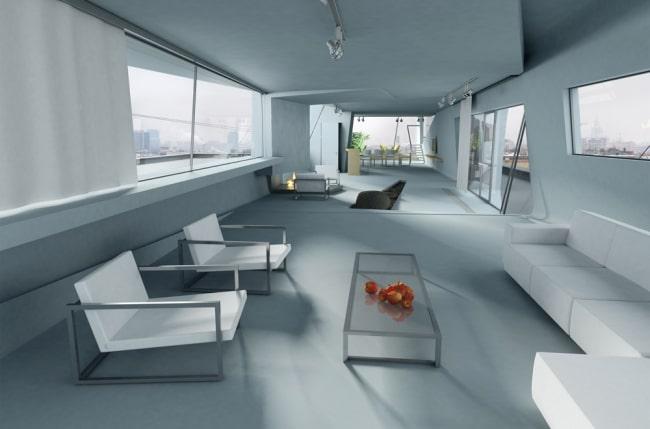 penthouse futuriste de za bor architects. Black Bedroom Furniture Sets. Home Design Ideas