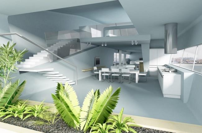 Interieur penthouse futuriste