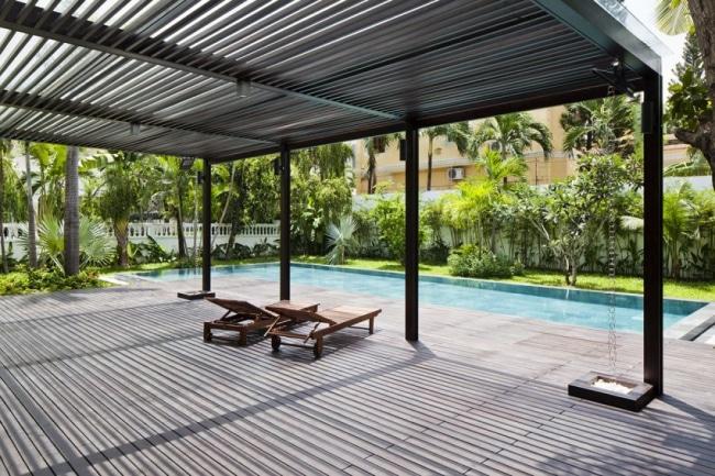 pergola aluminium contemporaine. Black Bedroom Furniture Sets. Home Design Ideas