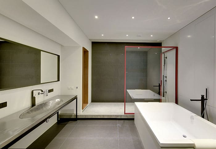 salle de bain avec plan de travail inox. Black Bedroom Furniture Sets. Home Design Ideas