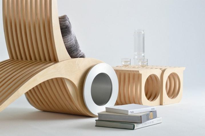 Chaise EXOCET bois strie