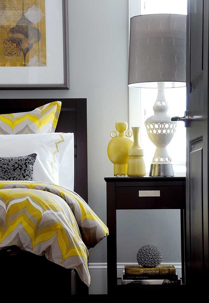 id es d co pour une chambre jaune et grise. Black Bedroom Furniture Sets. Home Design Ideas