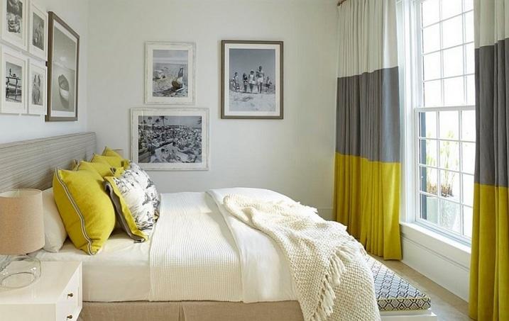 Genial Rideaux Chambre Grise Blanc Et Jaune