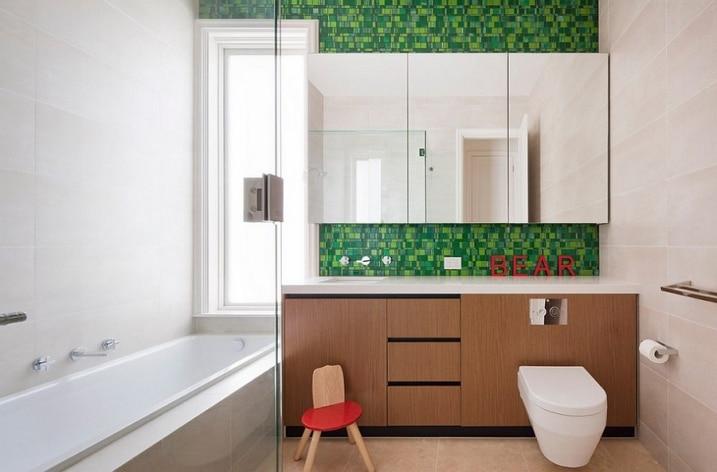 bain-carrelage-vert - Carrelage Vert Salle De Bain