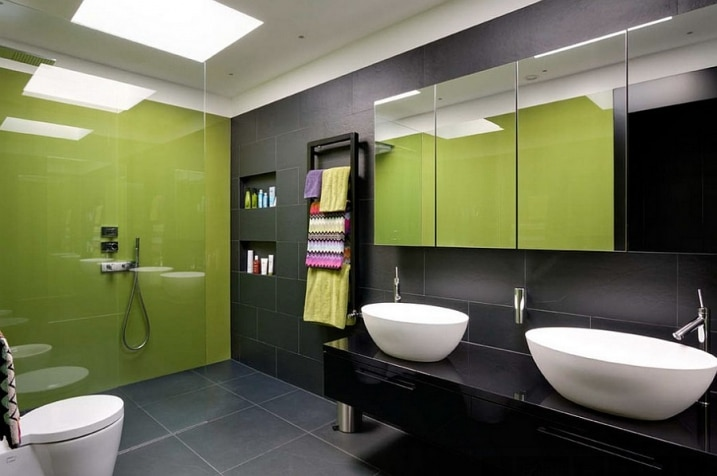 salle bain douche italienne verte. Black Bedroom Furniture Sets. Home Design Ideas