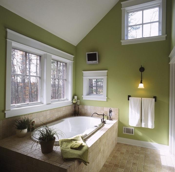Salle bain murs vert olive for Refection murs salle de bain