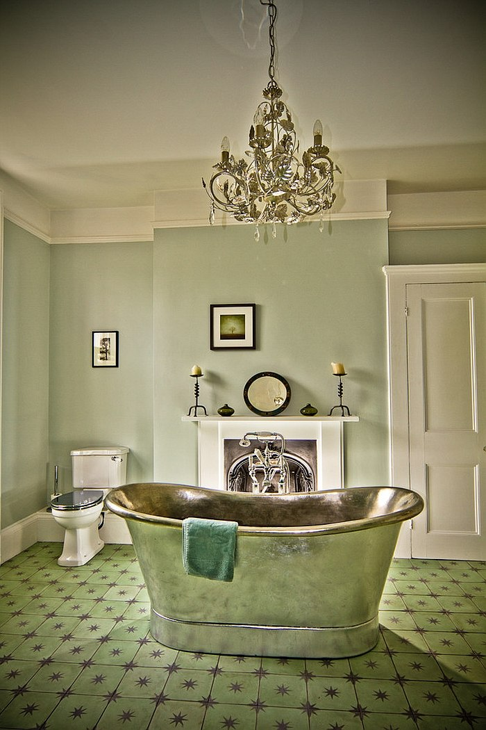 salle bain vintage carrelage vert. Black Bedroom Furniture Sets. Home Design Ideas