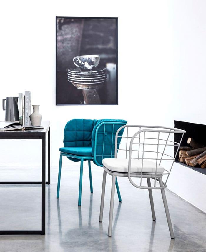 Chaise design avec dossier en tube
