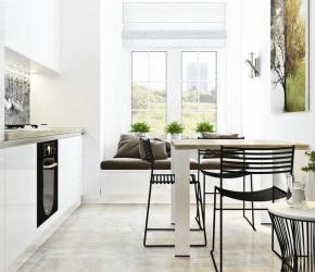 Décoration cuisine avec chaises metalliques