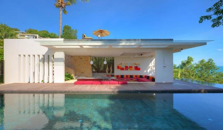salon exterieur vue sur piscine. Black Bedroom Furniture Sets. Home Design Ideas