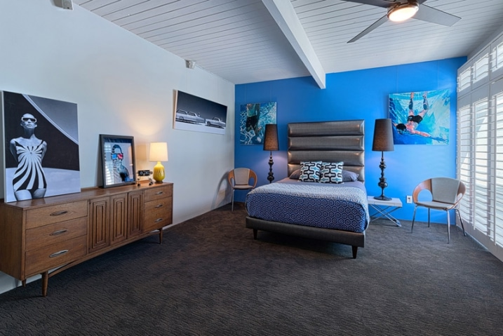 chambre avec mur bleu. Black Bedroom Furniture Sets. Home Design Ideas