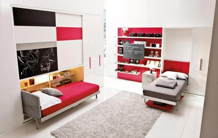 chambre enfant rouge et gris. Black Bedroom Furniture Sets. Home Design Ideas