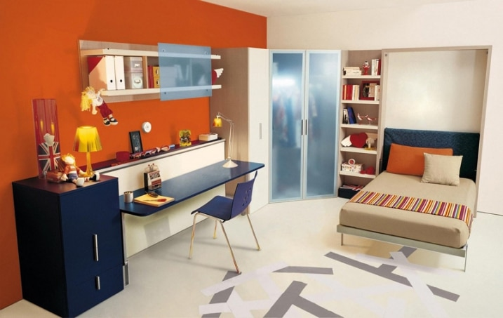 decoration chambre enfant avec mur orange. Black Bedroom Furniture Sets. Home Design Ideas