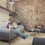Escalier industriel droit dans appartement