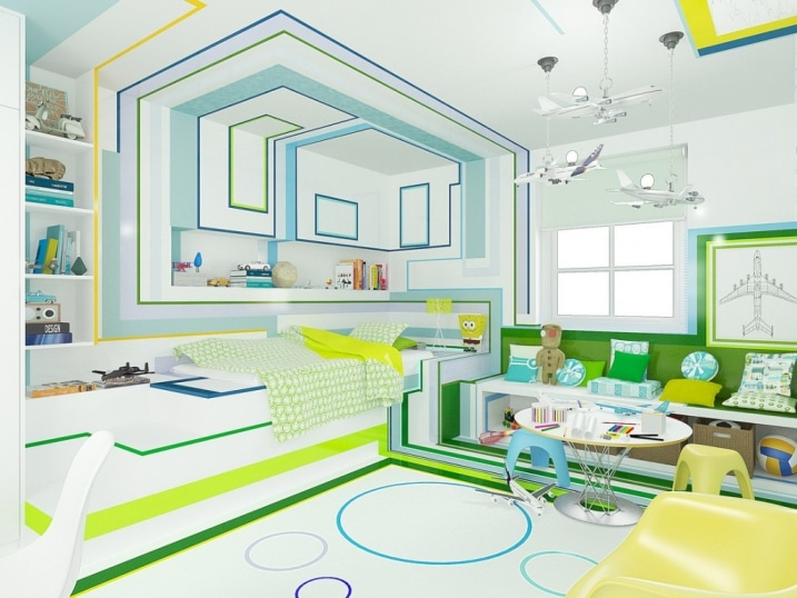d coration chambre enfant bleu vert jaune. Black Bedroom Furniture Sets. Home Design Ideas