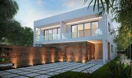Maison contemporaine blanche et bois
