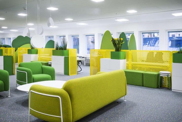 Open space jaune et vert for Open space design