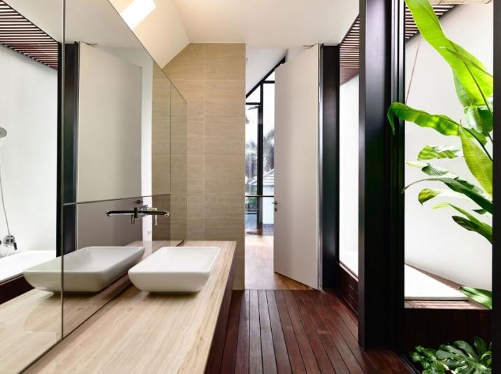 salle de bain avec une ambiance zen. Black Bedroom Furniture Sets. Home Design Ideas