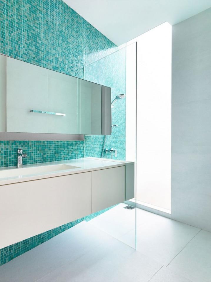 de bain mosaique turquoise