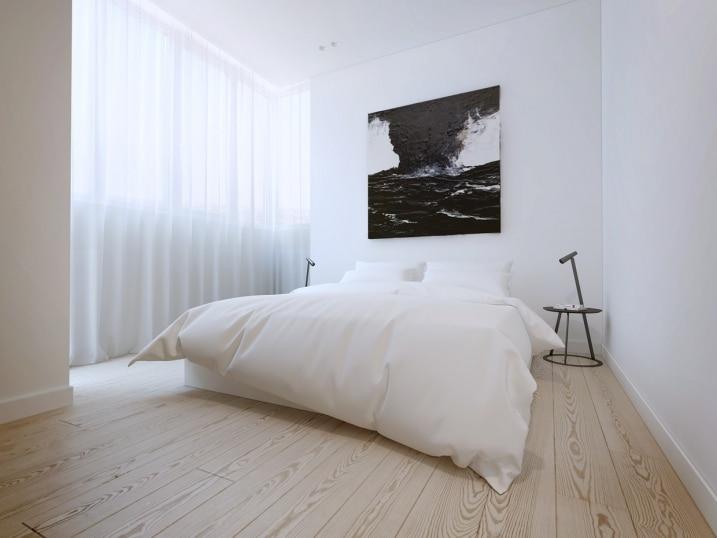 Chambre blanche avec parquet clair for Parquet chambre
