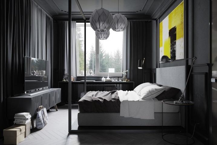 chambre noire et grise. Black Bedroom Furniture Sets. Home Design Ideas