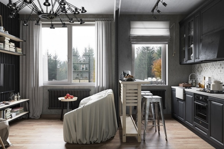 s paration cuisine salon. Black Bedroom Furniture Sets. Home Design Ideas