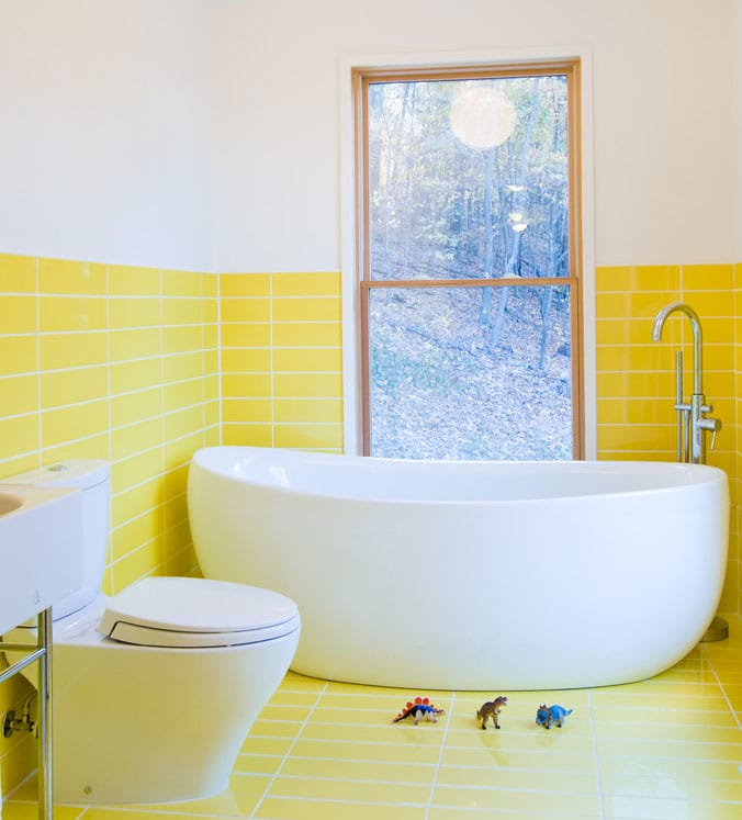 Carrelage de salle de bain jaune for Salle de bain interieur