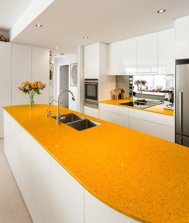 Plan de travail jaune cuisine - Plan travail cuisine ...