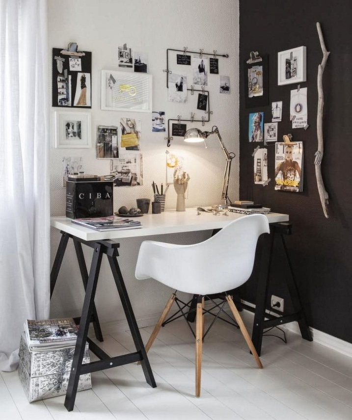 bureau d coration scandinave noir et blanc. Black Bedroom Furniture Sets. Home Design Ideas