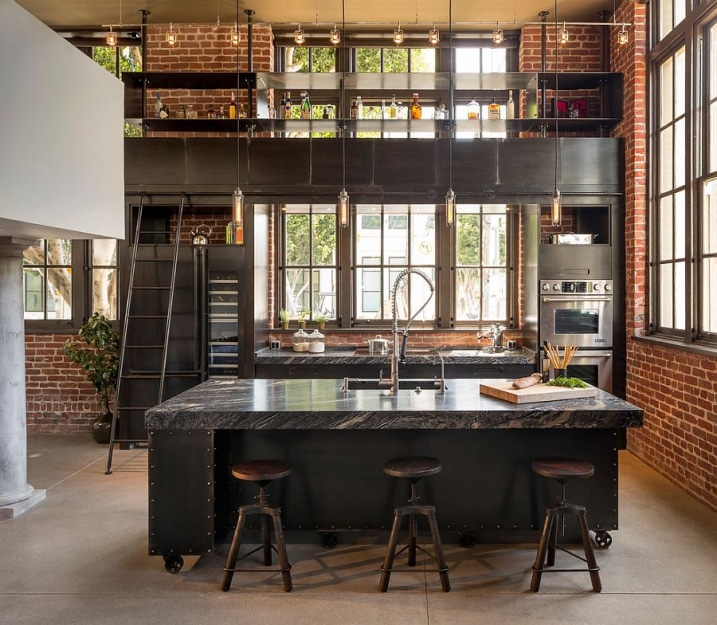 30 exemples de decoration de cuisines au style industriel for What kind of paint to use on kitchen cabinets for industrial chic wall art