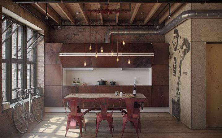 Cuisine industrielle loft
