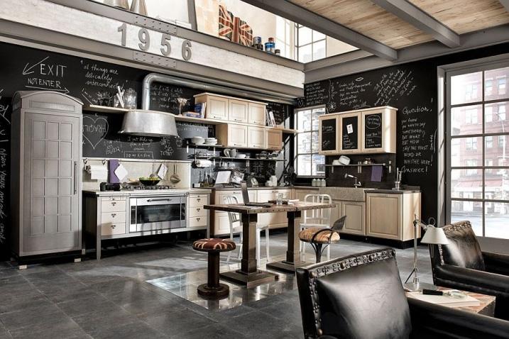 Cuisine industrielle murs tableaux noirs
