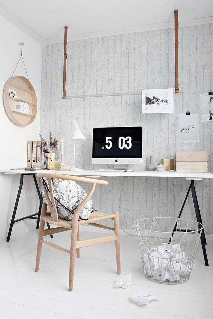 30 id es pour d corer un bureau avec un style scandinave. Black Bedroom Furniture Sets. Home Design Ideas