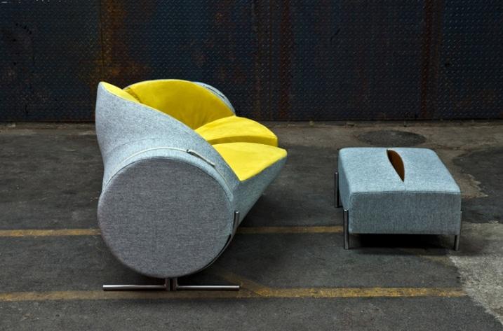 Pouf et sofa design gris et jaune