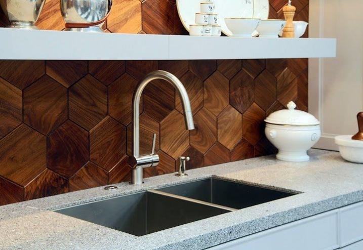 Crédence de cuisine géometrique bois