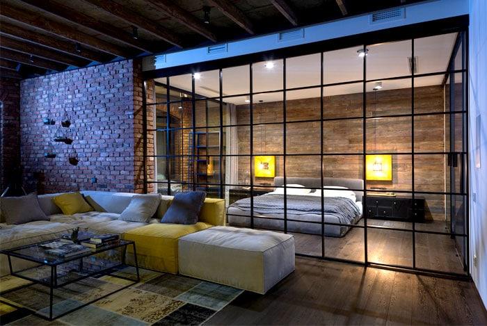 chambre ouverte sur salon loft. Black Bedroom Furniture Sets. Home Design Ideas